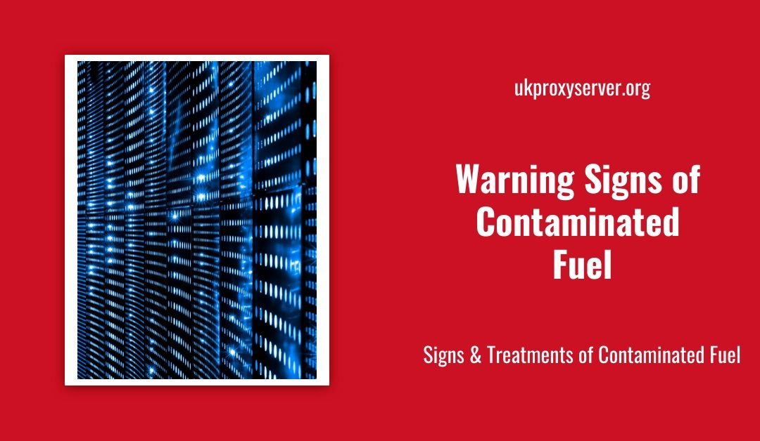 warning signs of contaminated fuel? is displayed on a red background next to an image of a server rack.